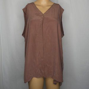 Eileen Fisher Silk Taupe One Button Sleeveless Top